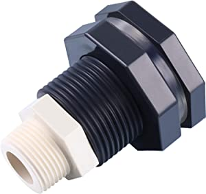 Outus 3/4 Inch PVC Bulkhead Fitting and Garden Hose Adapter Kit for Rain Barrels Aquariums Water Tanks