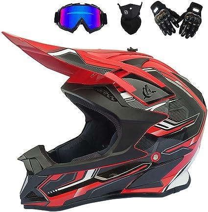 Motocross geeignet f/ür Scooter Fahrr/äder Rot Schwarz Motocrosshelm f/ür Kinder mit Brillenhandschuhe MTB Integralhelm