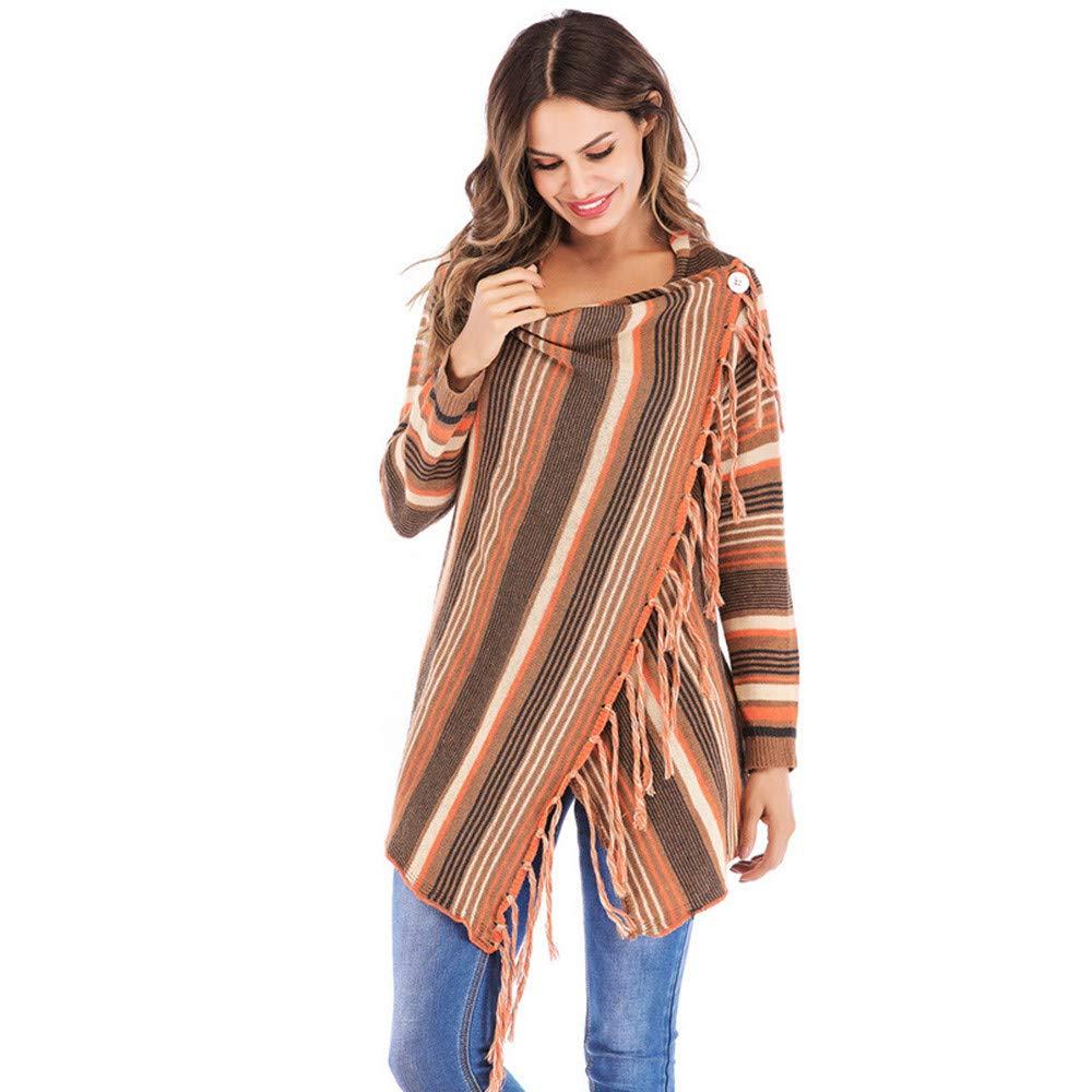 XOWRTE Womens Stripes Poncho Tassels Slash Gradient Shawl Hem Fringe Loose Sweater Outwear Fall Winter Coat Fashion 2018