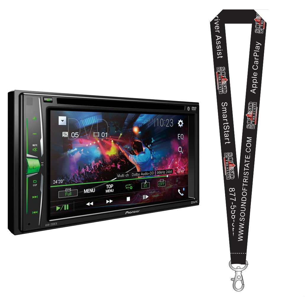 Pioneer AVH-201EX DVD Receiver w/ 6.2'' WVGA Display, Built in Bluetooth, iPod, and Android Compatibility with a Remote Control and a SOTS Lanyard