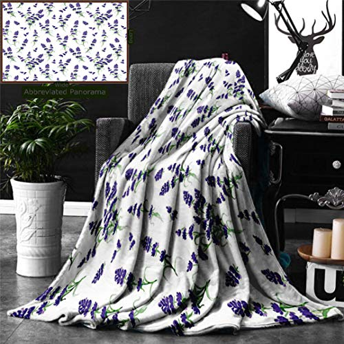 Unique Custom Digital Print Flannel Blankets Flower House Decor Watercolor Lavender Flowering Fragrant Pale Plant Essential Oil Ext Super Soft Blanketry for Bed Couch, Twin Size 80 x 60 Inches ()