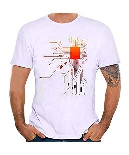 Sport T-Shirt,Transwen Sommer Männer Einfach T-Shirts Kurzarm Hemd Kurzschluss Hedging Bluse Drucken Slim Fit für Jogging Yoga Herren Tops (4XL, Weiß)