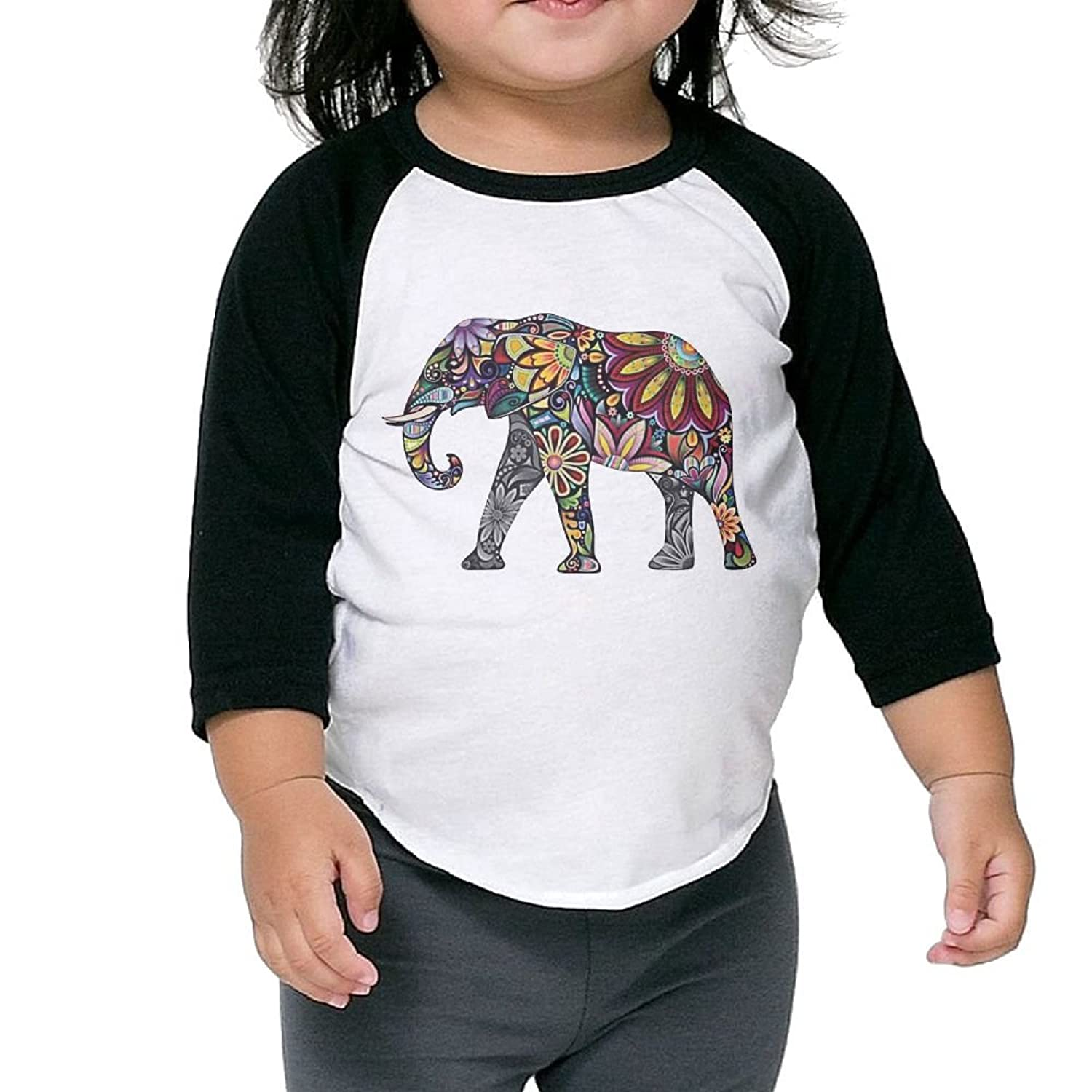New CHENLY Unisex Kid's Sleeves Soft colorful Elephant Artwork Cotton 3/4 Sleeves T-Shirt For Child free shipping