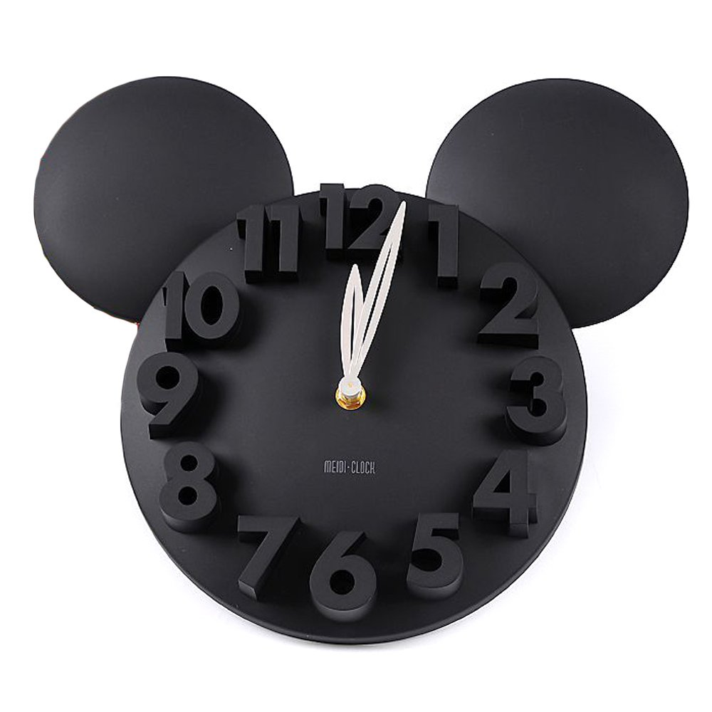 Shop amazon wall clocks onegood modern design mickey mouse big digit 3d wall clock home decor decoration black amipublicfo Image collections