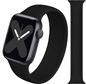 Stretchy Solo Loop Strap Compatible with Apple Watch Band 38/40mm,No Clasps,Stretchable,Soft Silicone Replacement Wristband Compatible with iWatch Series 6/SE/5/4/3/2/1-Black-M-(135mm-145mm)