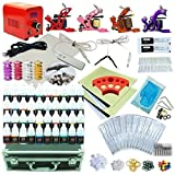 1TattooWorld Premium Red Tattoo Kit, 4 Tattoo Machines, Red Power Supply, 40 Color Tattoo inks, Grips, Needles, Carrying case, OTW-KTR440A