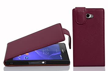 Cadorabo Carcasa para Sony Xperia M2 Móvil En Funda Carcasa de Piel sintética en Flip Diseño Estructurado Case Cover Carcasa Funda Burdeos Morado