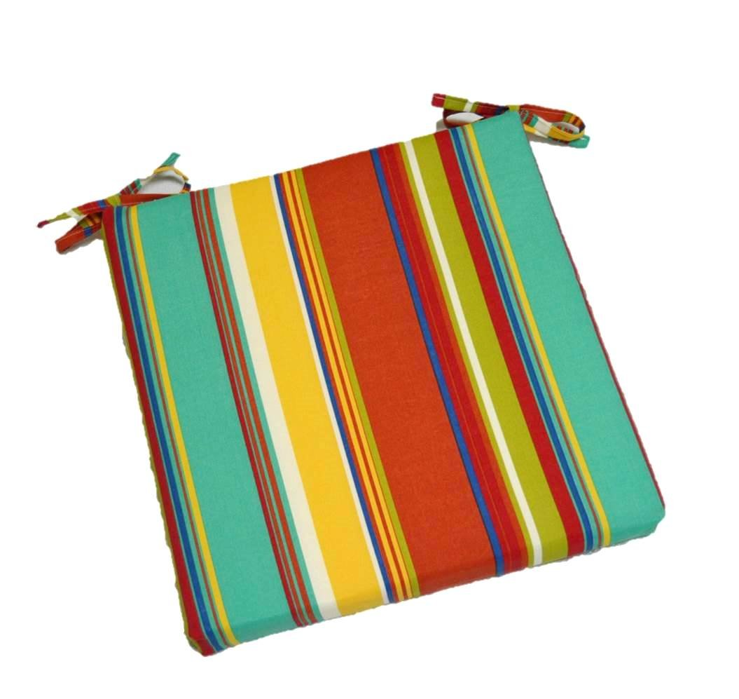"""Indoor / Outdoor Yellow, Turquoise Blue, Green, Coral Bright / Colorful Stripe Square Universal 2"""" Thick Foam Seat Cushion with Ties for Dining Patio Chair - Choose Size (18'' x 17'')"""