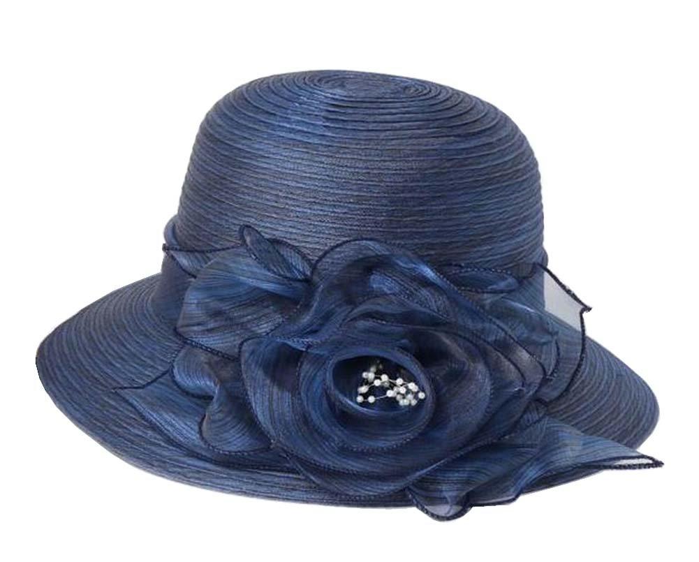 [Navy] Lady Foldable Sun Hat Elegant Organza Top Hat Dress Hat Beach Hat