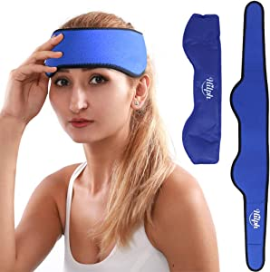 """Hilph® Head Ice Pack Wrap for Migraines, Reusable Cold Head Wrap Flexible Gel Ice Head Wrap with Soft Fabric Backing for Headache, Migraines, Chemo, Sinus, Head Tension -29.5"""" x 3.5"""""""