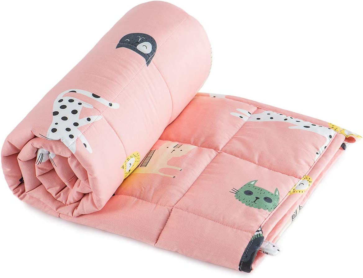Sivio Weighted Blanket 7 lbs for Kids 41x60 Inches (100% Natural Cotton, Fit Twin Sized Bed), Pink Cat