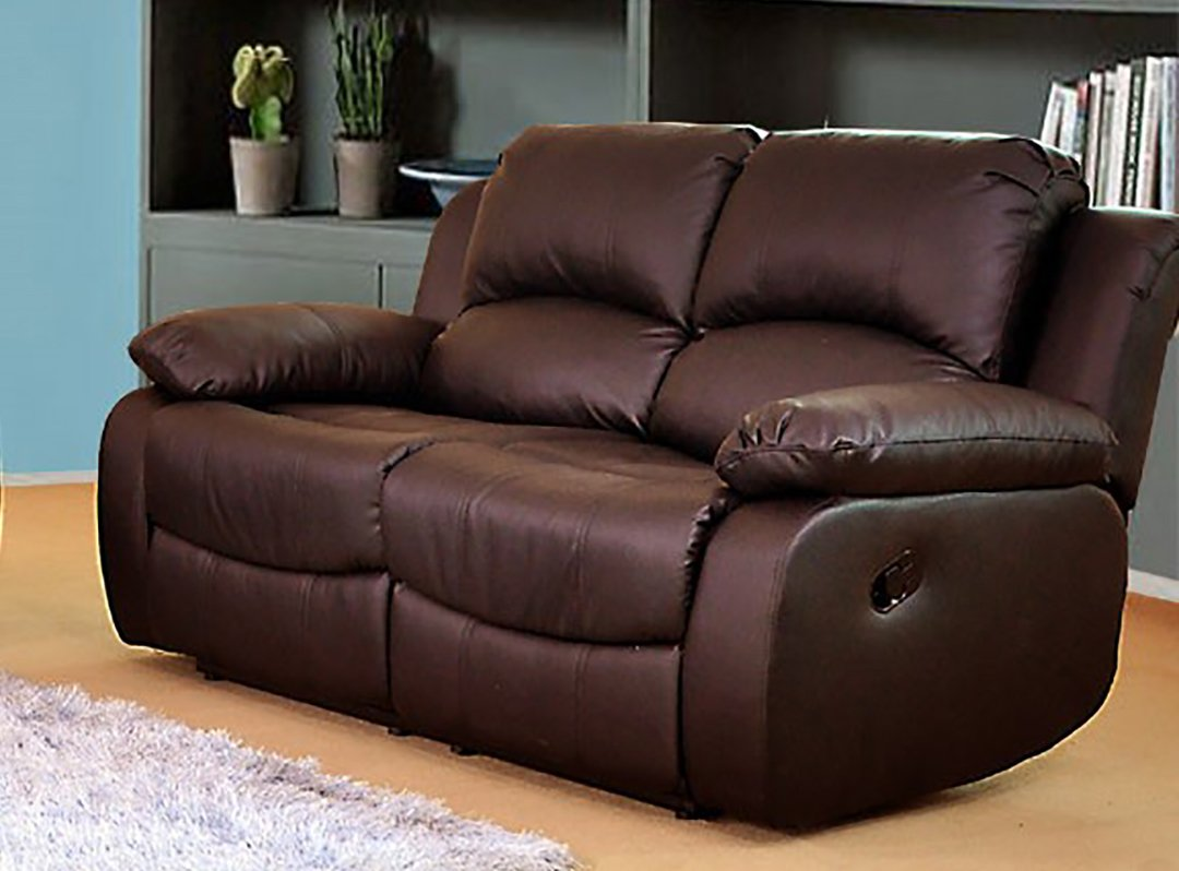 Lovesofas Valencia 2 + 2 Piel Regenerada reclinable sofá ...