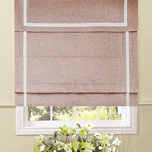 Artdix Roman Shades Blinds Window Shades - Grey Pink 65 W x 72L Inches 1 Piece Blackout Solid Fabric Custom Made Roman Shades for Windows, Doors, Home, Kitchen, Living Room Including Valance
