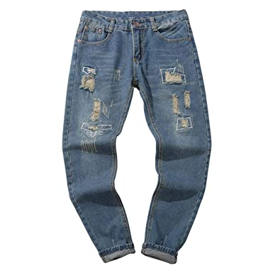 Pantalones Vaqueros Rotos Hombre,ZARLLE Jeans Pantalones Vaqueros EláSticos Skinny Slim Fit Delgados, Pantalones Largos De Mezclilla De Cintura Baja ...