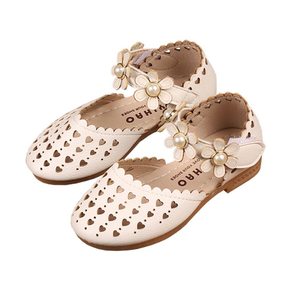 lakiolins Toddler Girls Love Heart Hollow Flower Ankle Strap Ballet Flats Princess Dress Shoes White Size 25