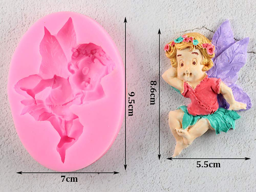 6 Types Fairy Baby Silicone Mold Chocolate Gumpaste Polymer Clay Moulds Fondant Cake Decorating Molds 3D Soap Pudding Moulds Candle Resin Fimo Clay Mold Sugar Craft Bakeware Pan Pastry Baking Tools