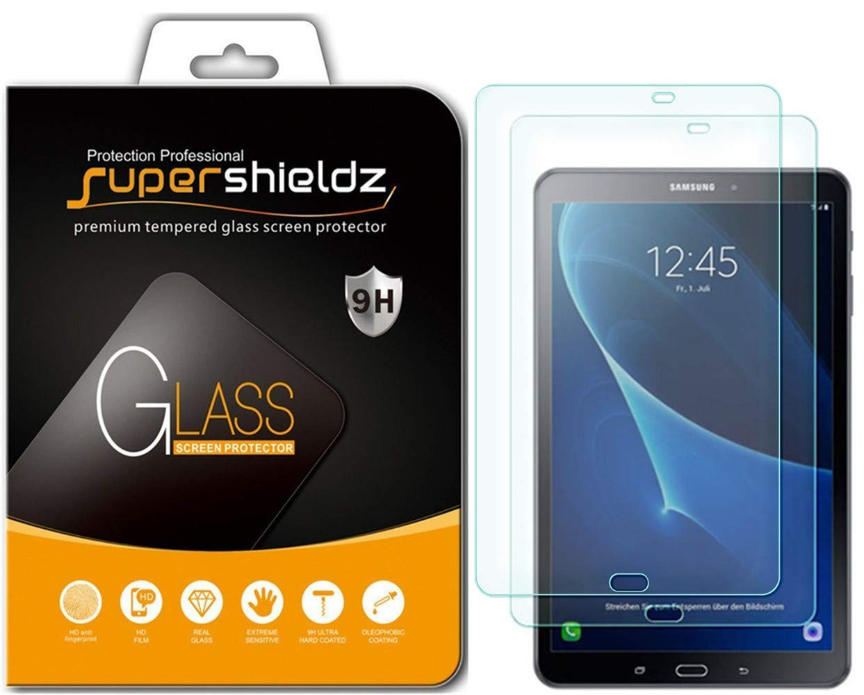 [2-Pack] Supershieldz for Samsung Galaxy Tab A 10.1 (SM-T580/T587 Model 2016 Release) Screen Protector, [Tempered Glass] Anti-Scratch, Bubble Free, Lifetime Replacement