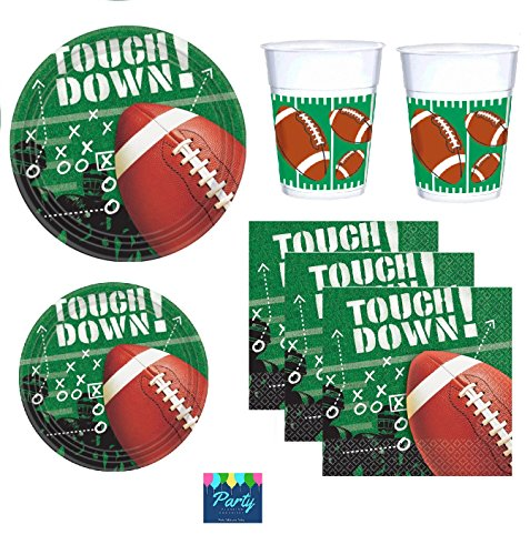 Football Party Supply Pack for 25 Guests Including Dinner Plates, Appetizer or Dessert Plates, Napkins and (Football Themed Party)