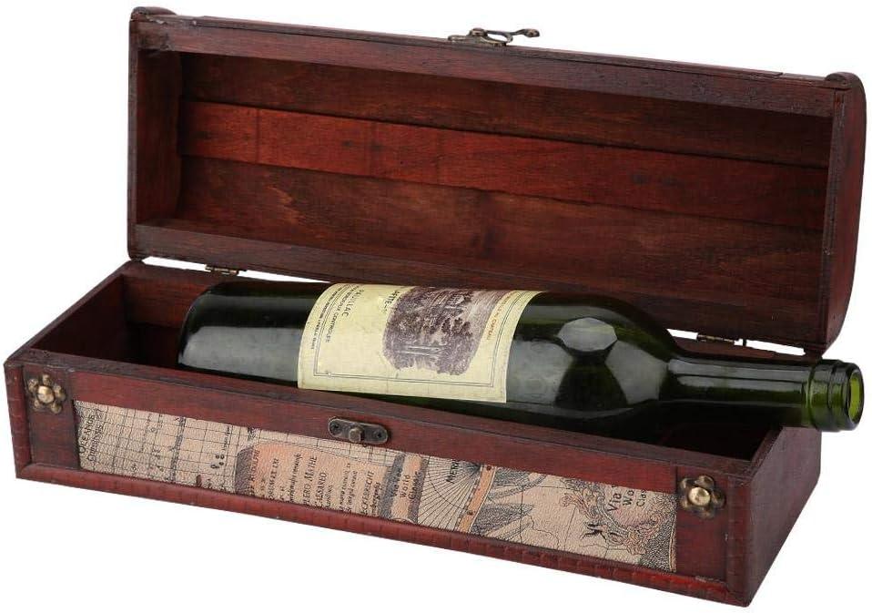 Vintage Holz Rotwein Champagner Einzelflasche Verpackung Aufbewahrungsbox mit Griff Jubil/äumsfeier Einweihungsparty Hochzeit Geburtstagsgeschenk Schatzkiste Weinkiste