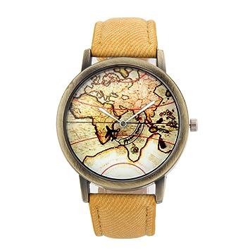 demiawaking nuevo mapa del mundo reloj de cuarzo Casual mujer relojes mujer reloj de pulsera: Amazon.es: Electrónica