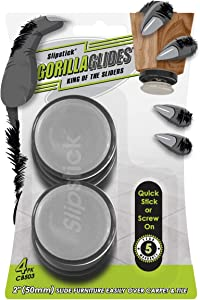 GorillaGlides CB503 2 Inch Plastic Furniture Sliders/Screw On Floor Protectors (Set of 4 Glides) for Carpet and Hard Surface Gliding, Round
