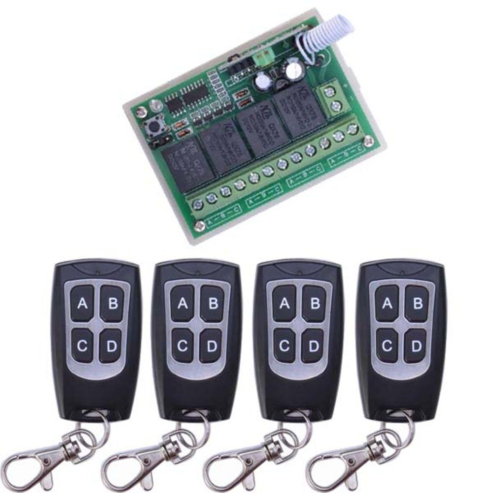 DC 12V Wireless Remote Switch, Long Range 433mhz 4 Channel