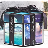 FeiJi Explosion Box, DIY Handmade Photo Album Scrapbooking,Gift Box with 6 Faces for Wedding Box, Birthday Party (B)