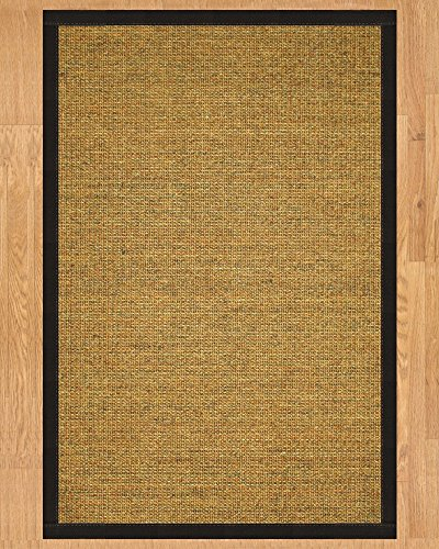 NaturalAreaRugs Sorrento Collection Sisal Area Rug, Handmade in USA, 100% Sisal, Non-Slip Latex Backing, Durable, Stain Resistant, Eco/Environment-Friendly, (3 Feet x 5 Feet) Black - Rug Slip Latex Non Sisal