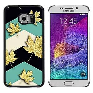 Paccase / SLIM PC / Aliminium Casa Carcasa Funda Case Cover para - Maple Leaf Canada Teal - Samsung Galaxy S6 EDGE SM-G925