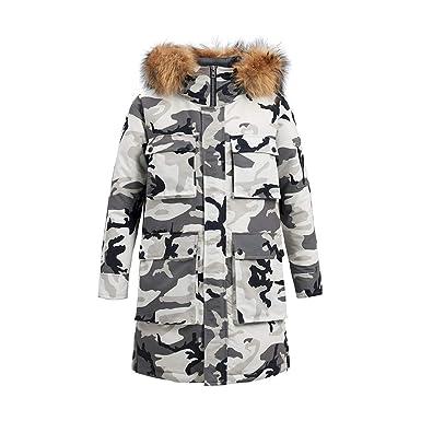 0783e2a39ca SITENG KBS Men's Winter Fur Hooded Camo Parka Long Down Coat Thickened Puffer  Jacket Parkas M