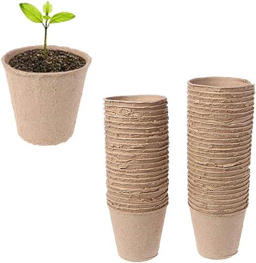 Xuniu 50 Piezas Redondas biodegradables Pulpa de turba Macetas Planta Vivero Copa Bandeja Jardín (8x8cm): Amazon.es: Hogar