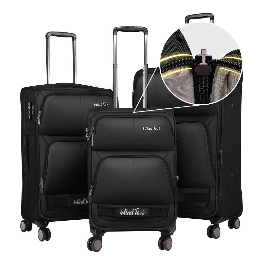 Windtook 3 Piece Luggage Sets Expandable Spinner Suitcase Bag for Travel and Business-8050 (Black-8050-YKK+TSA)