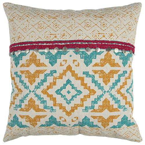 Rizzy Home T12940 Decorative Down Filled Throw Pillow 22 x 22 Yellow Multi
