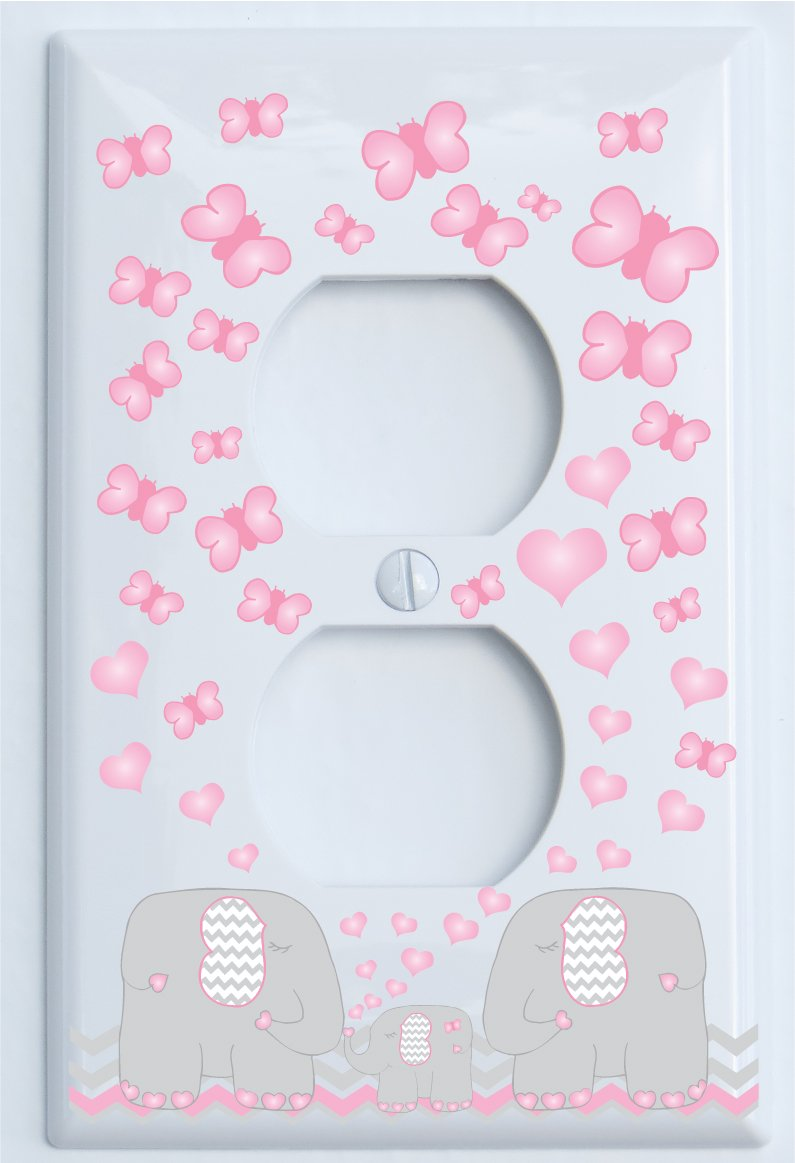 Pink Elephant Switch Plate Outlet Covers/Elephant Nursery Decor with Grey and Pink Chevron Switch Plates with Pink Hearts and Butterflies (Outlet Cover)