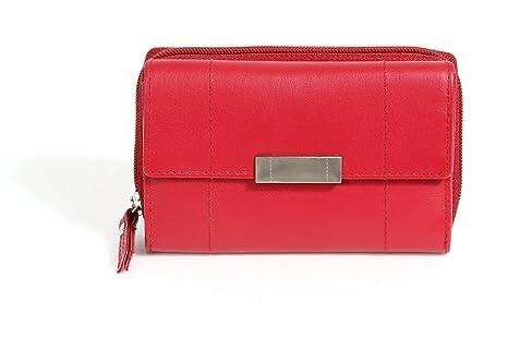 Cartera Monedero para señoras LEAS, Piel auténtica, rojo - LEAS Zipper-