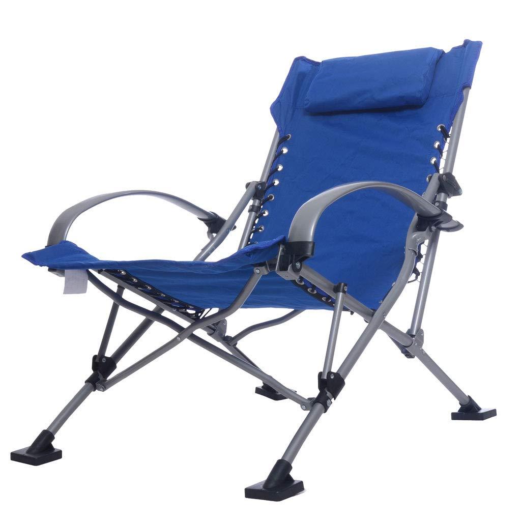 KAI LE Aluminiumklappstuhl-Strand-Stuhl-im Freien tragbarer Stuhl-Mittagspause-Recliner-Segeltuch-Klappstuhl