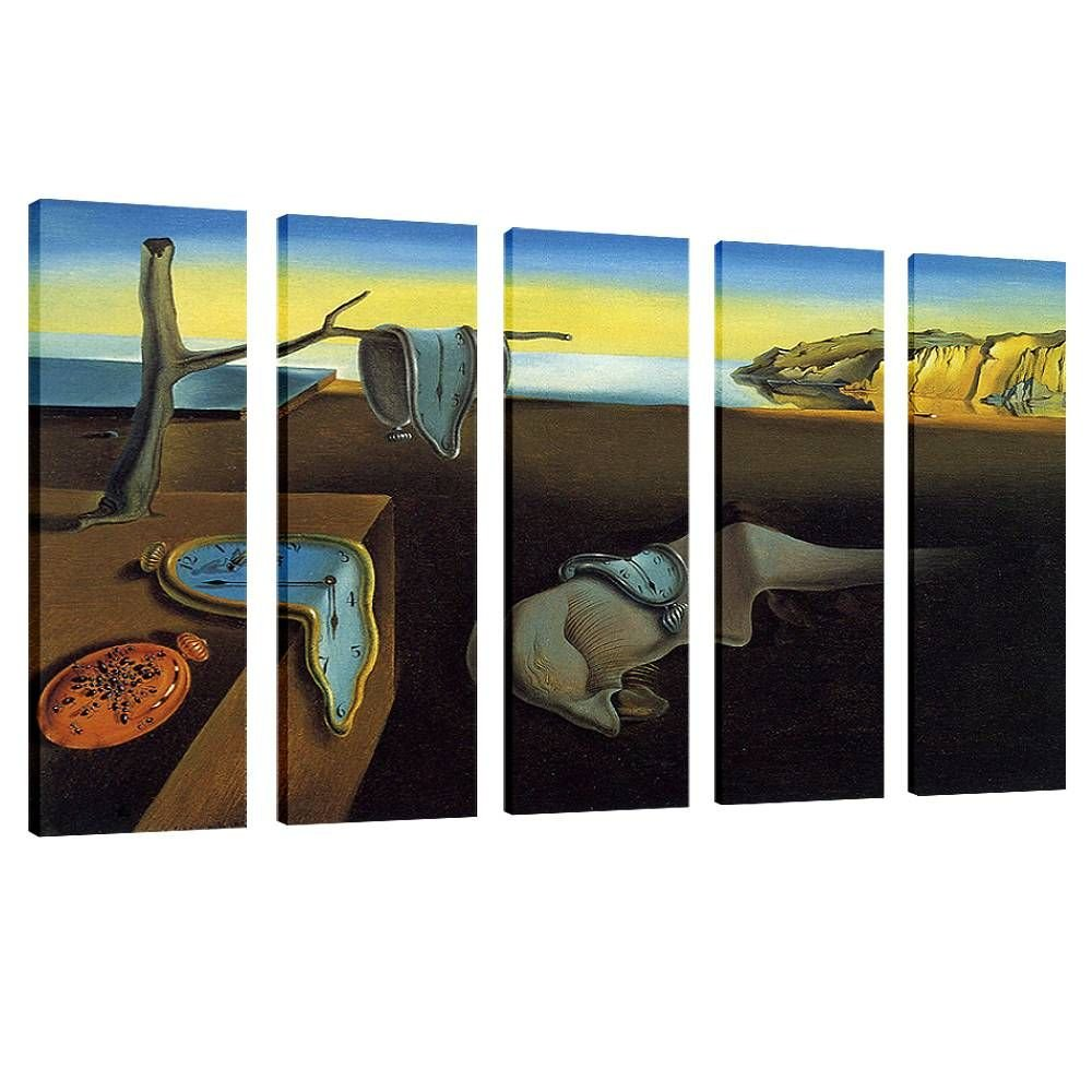 Alonline Art - The Persistence Of Memory Melting Watch by Salvador Dali | framed stretched canvas on a ready to hang frame - 100% cotton - gallery wrapped | 42''x28'' - 107x71cm | 5 Panels split |