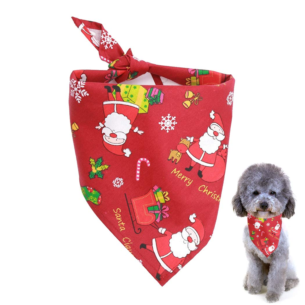 Legendog 2Pcs Dog Bandana Christmas Costume Pet Santa Pattern Triangle Scarf Cat Bandana for Christmas