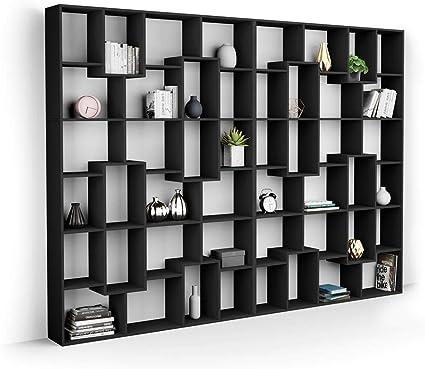 Mobili Fiver, Estantería XL Iacopo (236,4 x 321,6 cm), Color Madera Negra, Aglomerado y Melamina, Made in Italy