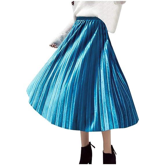 QinMMROPA Falda Plisada de Cintura Alta para Mujer Elegantes Otoño ...