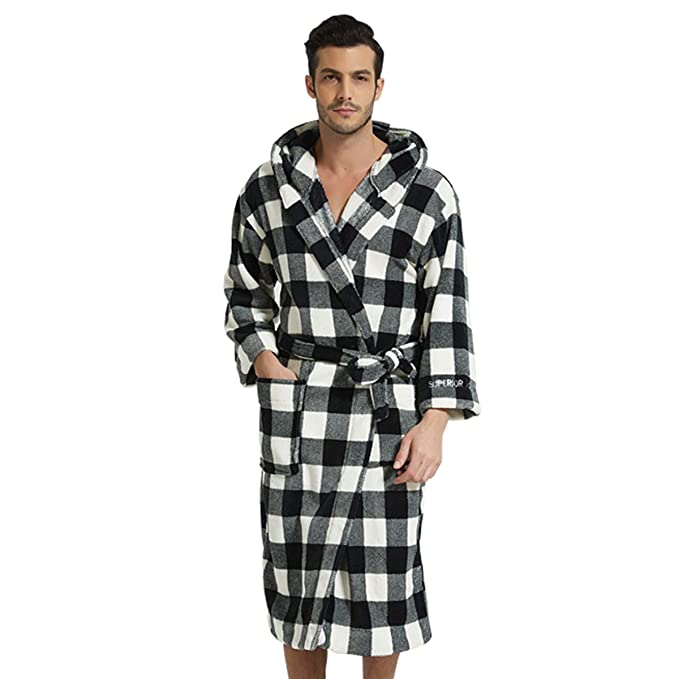 Soft Long Men/'s Sleep Gown Sleepwear Spa Coral Fleece Robes Bathrobe Clothing Ne