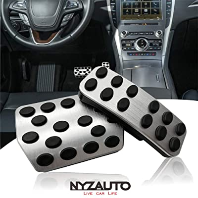 NYZAUTO Anti-Slip Performance Foot Pedal Pads kit for Ford Fusion Edge Lincoln MKZ Lincoln MKX,Auto No Drilling Aluminum Brake and Gas Accelerator Pedal Covers: Automotive