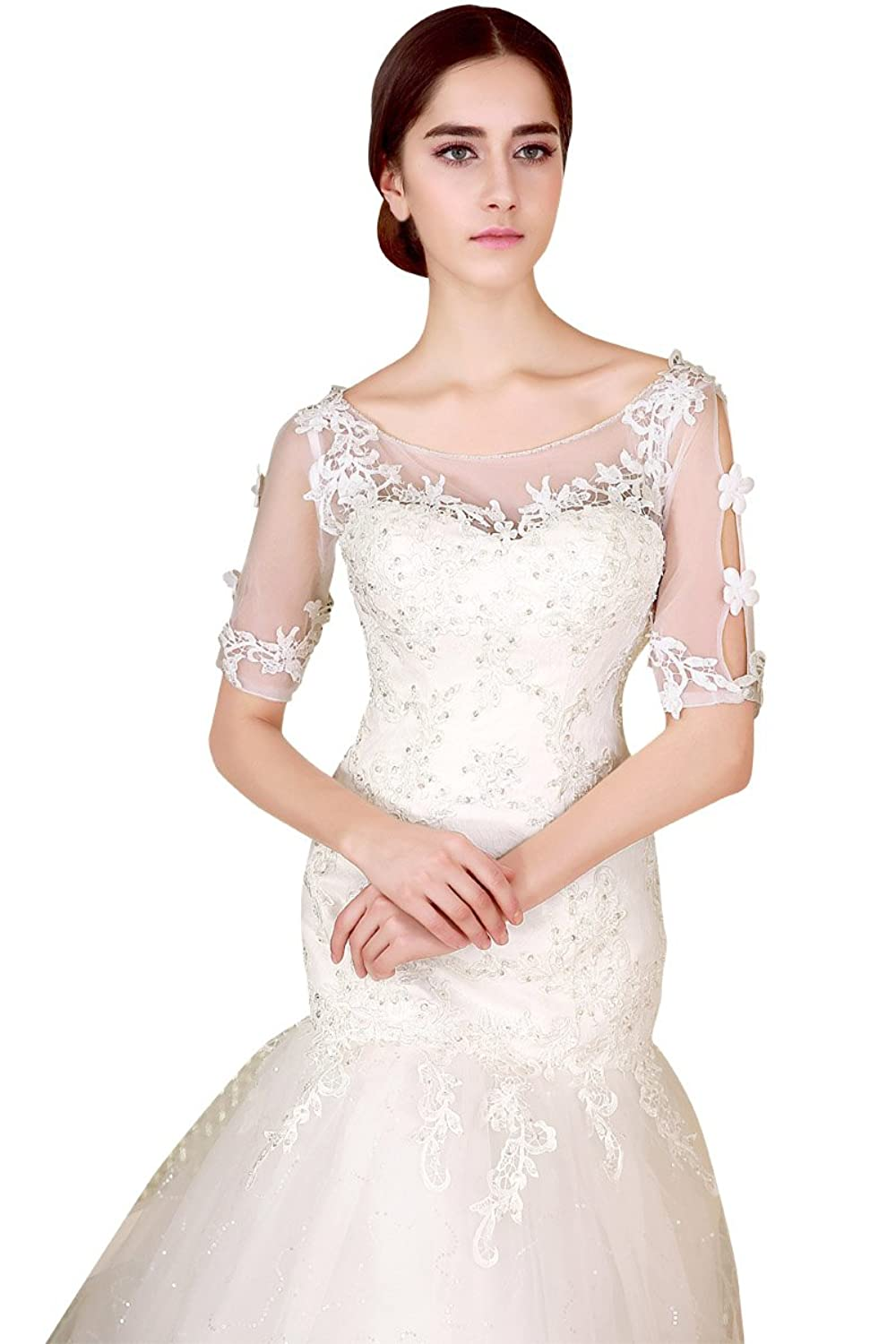 Sarahbridal Women's Elegant Sheer Neck Beaded Wedding Dresses Lace Mermaid Brides Dress with Short Sleeves Applique SZCL06