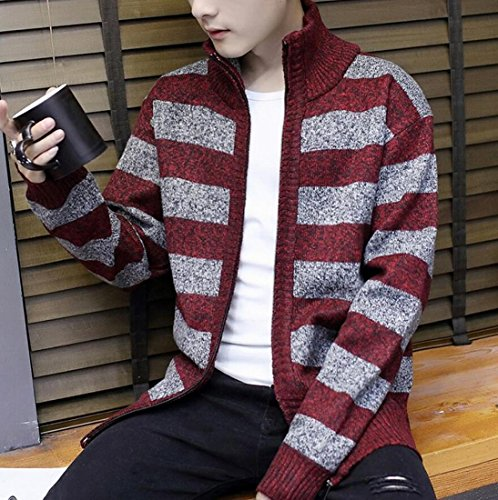 Cardigan Print Strip Sweater Women's Red Warm Full Wine amp;W Winter amp;S Zipper M wvXxYqzY