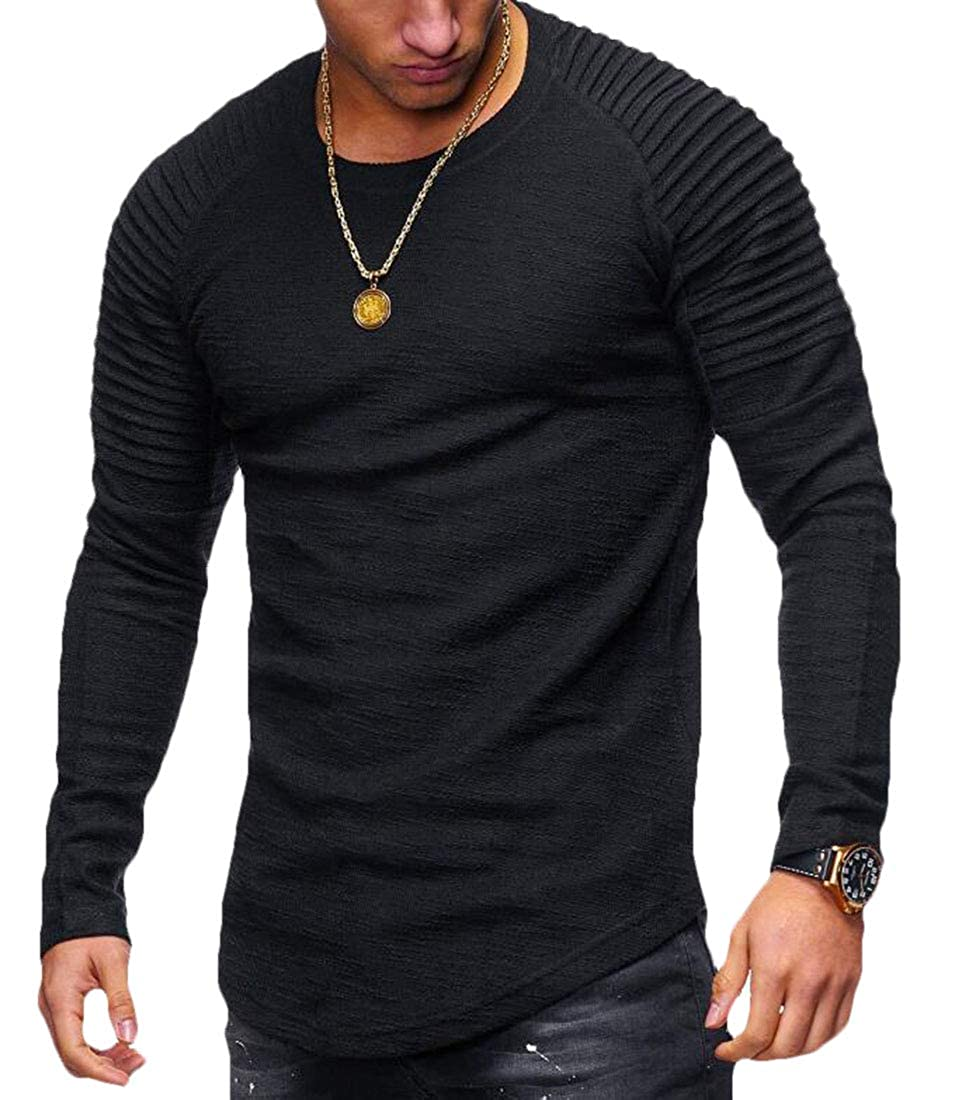 Fllay Mens Slim Fit Reglan Long Sleeve Pleated Round Neck Solid T-Shirts Tee