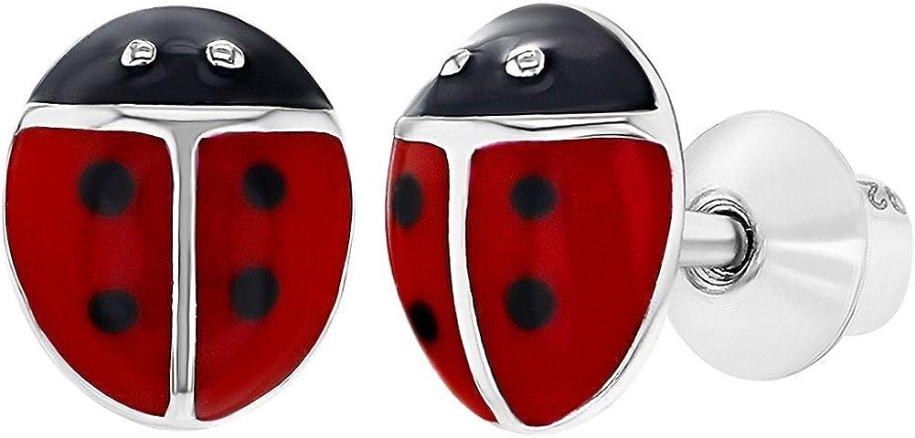 925 Sterling Silver Red Enamel Ladybug Screw Back Earrings Toddlers or Girls 61MkcVNK6TL
