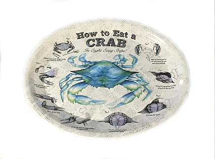 Amazon 4 Crab Plates How To Eat Crab Diagram Plates In 8