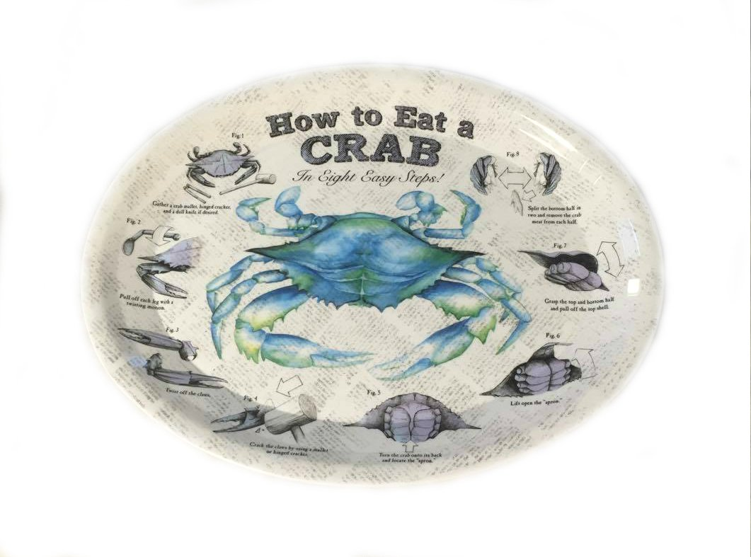 96 - Crab Plates - ''How To EAT CRAB'' Diagram Plates in 8 Easy Steps (96)