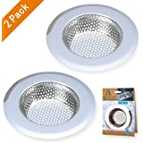 """A AULIFE Stainless Steel Kitchen Sink Strainer, Large Wide Rim 4.5"""" Diameter, Set of 2"""
