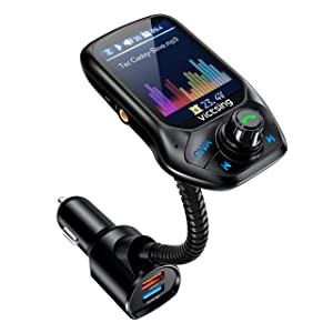 """VicTsing (Upgraded Version) Bluetooth FM Transmitter, Auto Scan Unused Station Bluetooth Radio Transmitter Adapter for Car with 1.8"""" Color Screen, QC 3.0, EQ Modes, Aux, Hands-Free Calls"""